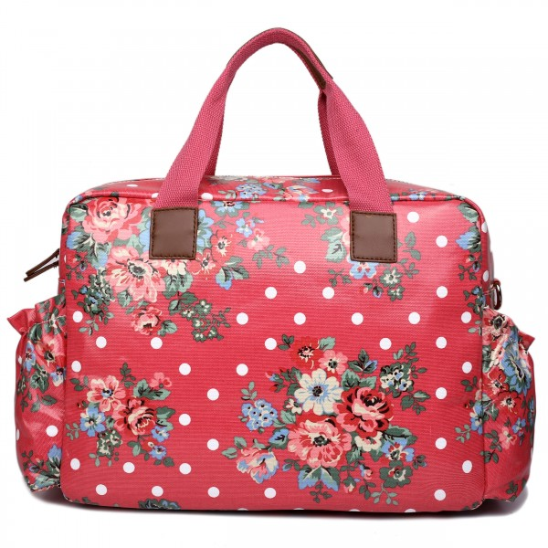 L1501F - Miss Lulu Maternity Baby Changing Bag Flower Polka Dot Plum