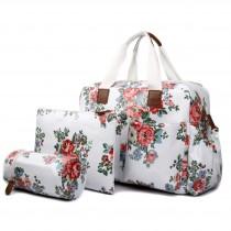 L1501F - Bolso Cambiador Bebé Miss Lulu Lunares y flores Blanco