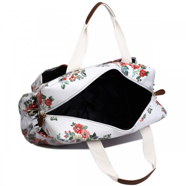 L1501F - Miss Lulu Maternity Baby Changing Bag Flower Polka Dot White