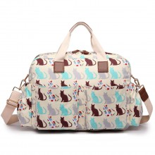 L1501CT - Miss Lulu Maternity Baby Changing Bag Cat Beige
