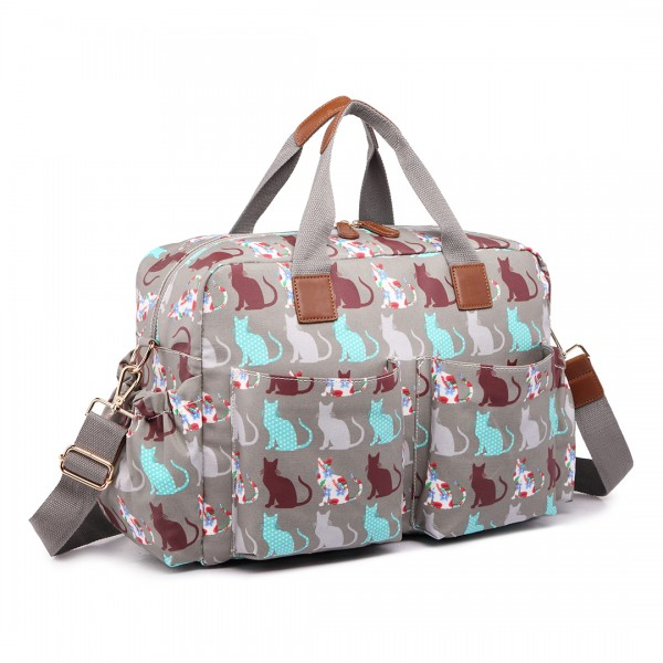 L1501CT - Miss Lulu Maternity Baby Changing Bag Cat Grey