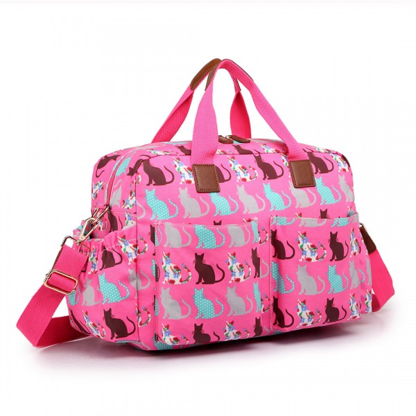 L1501CT - Miss Lulu Maternity Baby Changing Bag Cat Pink