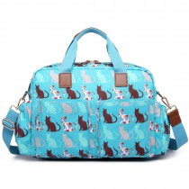 L1501CT- Miss Lulu Maternity Baby Changing Bag Cat Teal