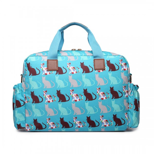 L1501CT - Miss Lulu Maternity Baby Changing Bag Cat Teal