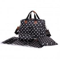 L1501D2 - Miss Lulu Maternity Baby Changing Bag Polka Dot Black