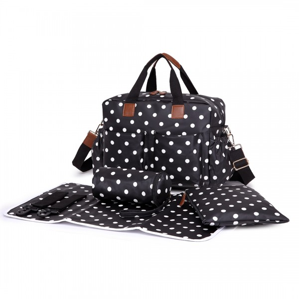 L1501D2 - Miss Lulu Maternity Baby Changing Bag Polka Dot Black
