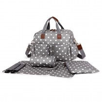 L1501D2 - Miss Lulu Maternity Baby Changing Bag Polka Dot Grey