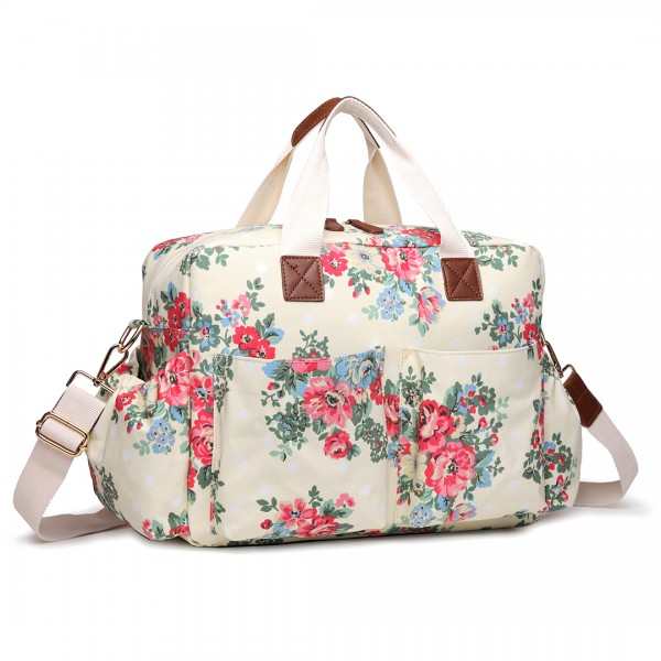 L1501F - Miss Lulu Maternity Baby Changing Bag Flower Polka Dot Beige