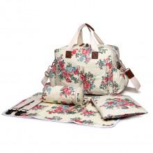 L1501F - Miss Lulu Maternity Baby Changing Bag Flower Polka Dot Beige