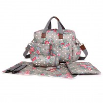 L1501F - Miss Lulu Maternity Baby Changing Bag Flower Polka Dot Grey