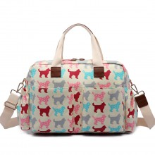L1501NDG - Miss Lulu Maternity Baby Changing Bag Dog Beige