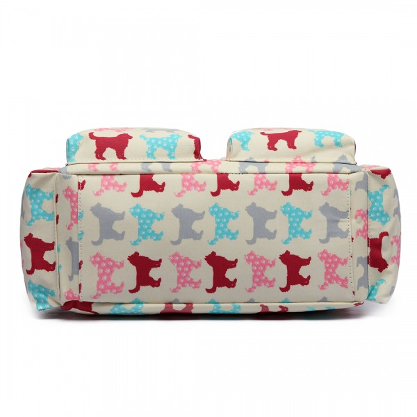 L1501NDG - Miss Lulu Maternity Baby Changing Bag Dog Biege