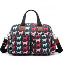 L1501NDG - Bolso Cambiador Bebé Miss Lulu con estampado de perritos en negro