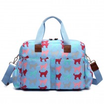 L1501NDG - Miss Lulu Maternity Baby Changing Bag Dog Light Blue