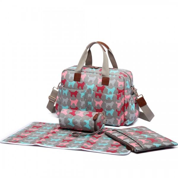 L1501NDG - Miss Lulu Maternity Baby Changing Bag Dog Grey