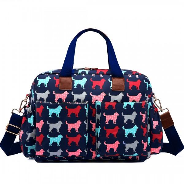 L1501NDG - Miss Lulu Maternity Baby Changing Bag Dog Navy