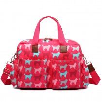 L1501NDG - Bolso Cambiador Bebé Miss Lulu con estampado de perritos en rojo
