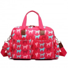 L1501NDG - Miss Lulu Maternity Baby Changing Bag Dog Red