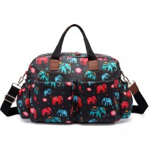 L1501NEW-E - Miss Lulu Maternity Baby Changing Bag Elephant Black
