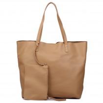 L1502 - Miss Lulu Leather Look Large Vintage Tote Bag Beige