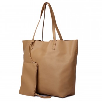 L1502 - Miss Lulu Leather Look Large Vintage Tote Bag Beige