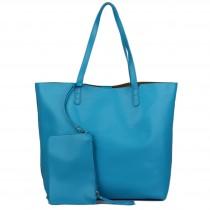 L1502 - Miss Lulu Leather Look Large Vintage Tote Bag Blue