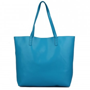 L1502 - Miss Lulu Leather Look Large Vintage Tote Bag Blue