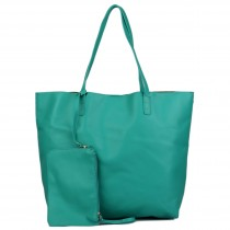 L1502 - Miss Lulu Leather Look Large Vintage Tote Bag Light Green