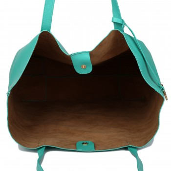 L1502 - Miss Lulu Leather Look Large Vintage Tote Bag Light Green