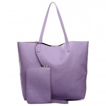 L1502 - Miss Lulu Leather Look Large Vintage Tote Bag Light Purple