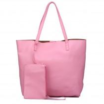 L1502 - Miss Lulu Leather Look Large Vintage Tote Bag Pink