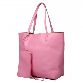 L1502 - Miss Lulu Leather Look Large Vintage Tote Bag Pink