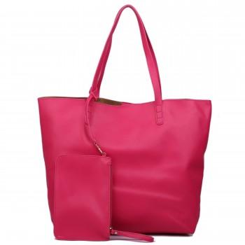 L1502 - Miss Lulu Leather Look Large Vintage Tote Bag Plum