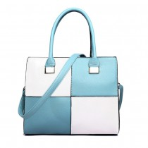 L1504 - Miss Lulu Leather Look Four Panel Shoulder Handbag Blue And White