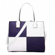 L1504 - Miss Lulu Leather Look Four Panel Shoulder Handbag White And Purple