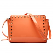 L1506 - Miss Lulu Patent Leather Look Studded Cross Body Bag Apricot