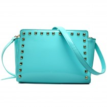L1506 - Miss Lulu Patent Leather Look Studded Cross Body Bag Blue
