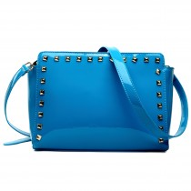 L1506 - Miss Lulu Patent Leather Look Studded Cross Body Bag Navy