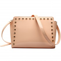 L1506 - Miss Lulu Patent Leather Look Studded Cross Body Bag Pink