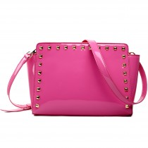 L1506 - Miss Lulu Patent Leather Look Studded Cross Body Bag Plum