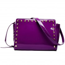 L1506 - Miss Lulu Patent Leather Look Studded Cross Body Bag Purple