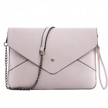 L1507 - Pochette enveloppe Miss Lulu en cuir Abricot