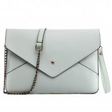 L1507 - Pochette enveloppe Miss Lulu en cuir Bleu