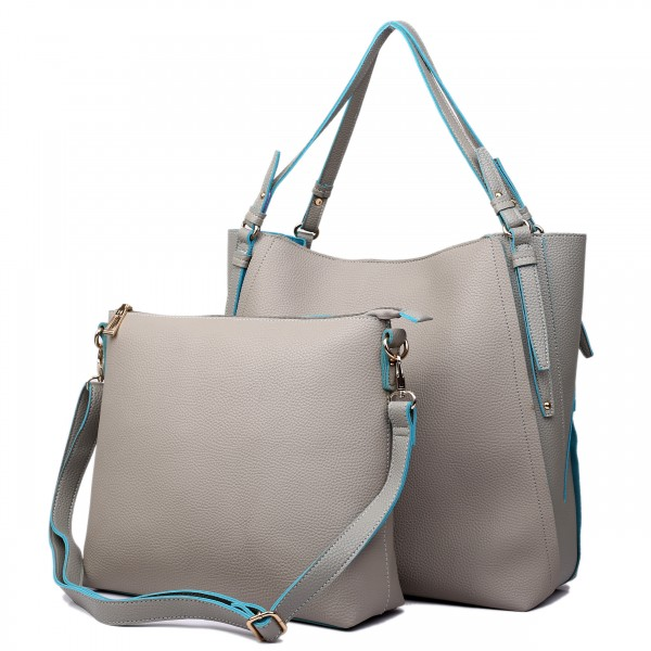 L1508 - Miss Lulu Leather Look Luxury Two In One Tote Grey With Blue