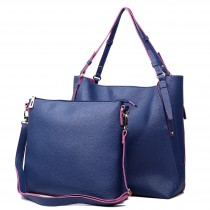 L1508 - Miss Lulu Leather Look Luxury Two In One Tote Navy With Pink
