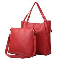 L1508 - Miss Lulu Leather Look Luxury Two In One Tote Red With Red