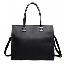 L1509 - Miss Lulu Leather Look Classic Square Shoulder Bag Black