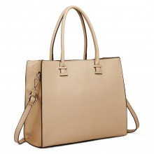 L1509 - Miss Lulu Leather Look Classic Square Shoulder Bag Beige