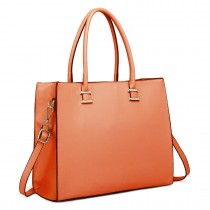 L1509 - Miss Lulu Leather Look Classic Square Shoulder Bag Coral