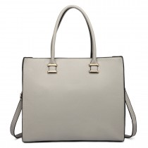 L1509 - Miss Lulu Leather Look Classic Square Shoulder Bag Grey
